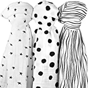 Cotton Muslin Swaddle Blanket 3 Pack 47  x 47  Abstract Black and White Circles Stripes and Stars for Baby Girl Or Boy by Ely's & Co.