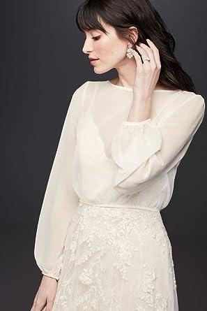 Amazoncom Flowy Chiffon Long Sleeve Wedding Dress Topper