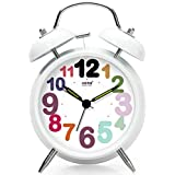 HaloVa Twin Bell Alarm Clock, Silent Non Ticking Sweep Second Hand Bedside Desk Alarm Clock, Creative Fashion Nightlight and Loud Alarm for Bedroom, Battery Operated, Numeral, White