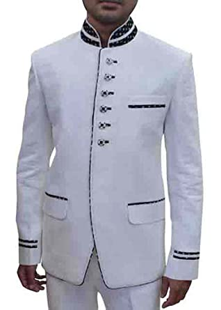 INMONARCH Hombres Blanco 2 Pc esmoquin elegante traje de ...
