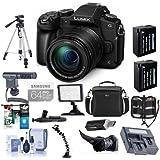Panasonic Lumix DMC-G85 Mirrorless Camera with 12-60mm F/3.5-5.6 Lumix G OIS Lens Black - Bundle with Camera Bag, 64GB SDXC Card, 2x Spare Battery, Tripod, Shotgun Mic, Video Light, Dual Charger, More