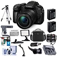 Panasonic Lumix DMC-G85 Mirrorless Camera with 12-60mm F/3.5-5.6 Lumix G OIS Lens Black - Bundle with Camera Bag, 64GB SDXC Card, 2x Spare Battery, Tripod, Shotgun Mic, Video Light, Dual Charger, More
