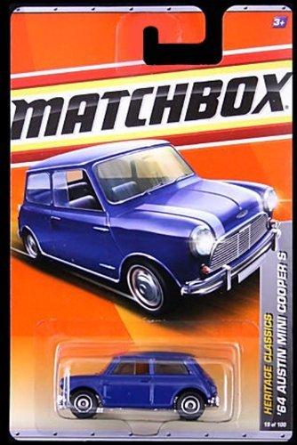 2011 Matchbox '64 Austin Mini Cooper S Blue/White Stripes on Hood #19 of 100