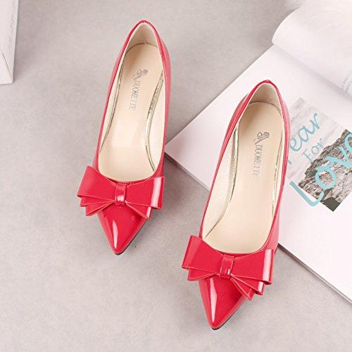 a punta Qiqi con Scarpe argento piccolo con basse rosse Xue moda col da alto tacco donna rosso Scarpette 35 scarpe tacco Scarpe BCwwzqvx