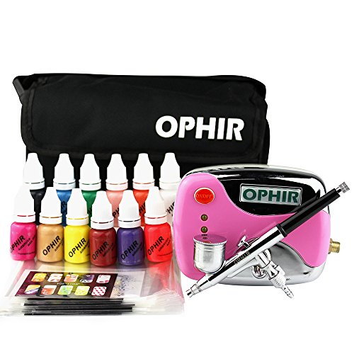 OPHIR 12x Nail Ink Airbrushing 0.3mm Airbrush Kit with Airbrush Nail Stencil & Bag & Cleaning Brush Set_OP-NA001 (Pink) by OPHIR