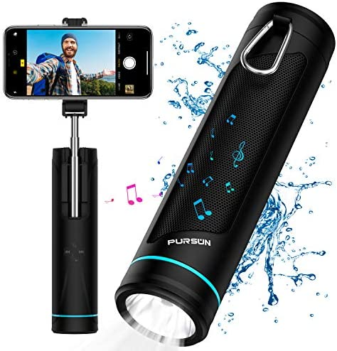 All-in-one Water Resistant Bluetooth 5.0 Wireless Speaker with 6 Changing Light Colors 20 Inch Selfie Stick 5200mAh Power Bank LED Flashlight Camping Lantern SD Card USB Flash Drive Player