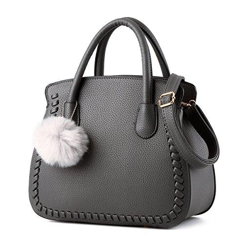 Wu Zhi Señoras PU mochilas Bolsos De Hombro Grey