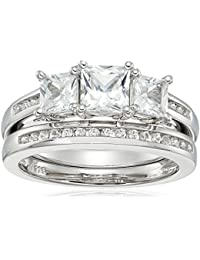 Sterling Silver Side Princess Cut Lab Created White Sapphire and Matching Band Ring