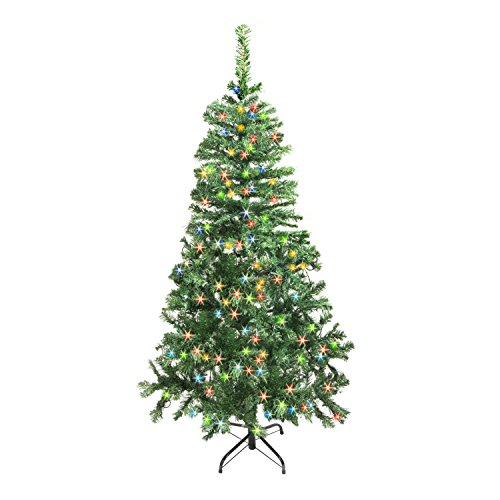 ALEKO CTDG84H250MC Artificial Holiday Christmas Tree Premium Pine with Stand 250 Multi Color LED Lights 7.5 Foot Green