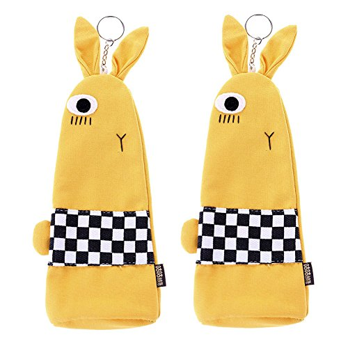 Wei&KYNM Pencil Bag Pen Case, Cute Cartoon Students Stationery Pouch Zipper Bag for Pens, Pencils, Highlighters, Gel Pen, Markers and other School Supplies - 2 Pack