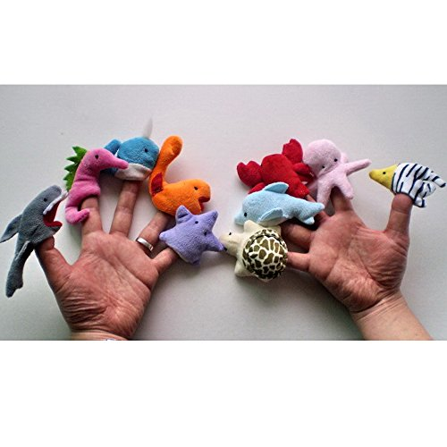 10PCS Sea Animal Finger Puppets Cloth Doll Baby Educational Hand Toy Kid Gift Animal (Zapdos Costume)