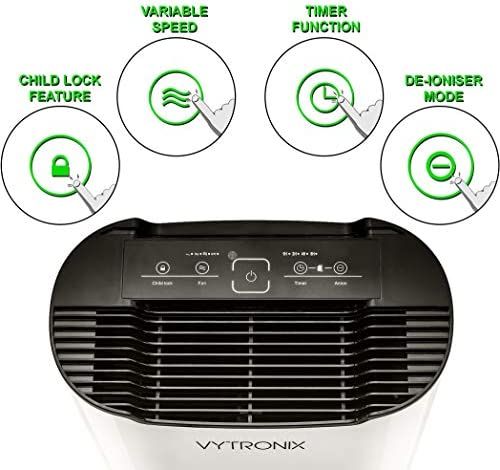 VYTRONIX VAP55 Air Purifier 55W Anti-Allergen, Reduces Odours and Gases, HEPA and Active Carbon Filters