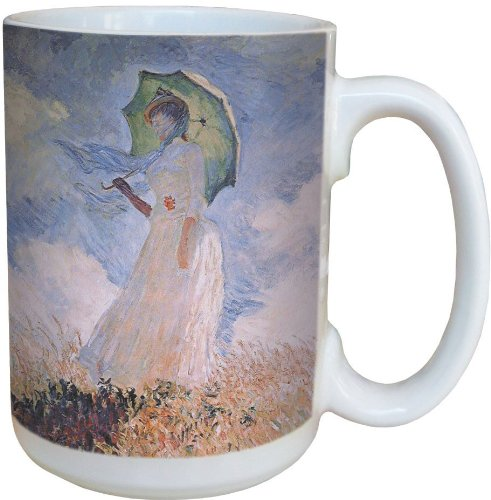 Tree-Free Greetings 79114 Monet Woman with Parasol Collectible Art Ceramic Mug with Full Sized Handle, 15-Ounce, Multicolored ()