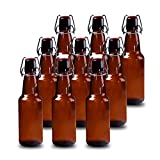 Kitchen & Housewares : YEBODA 12 oz Amber Glass Beer Bottles for Home Brewing with Flip Caps, Case of 9
