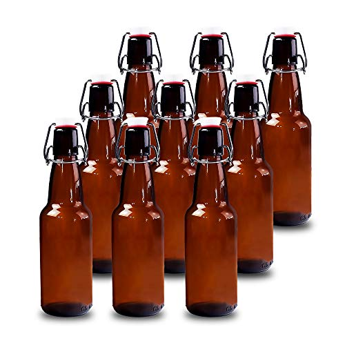 YEBODA 12 oz Amber Glass Beer Bottles for Home Brewing with Flip Caps, Case of 9 ()