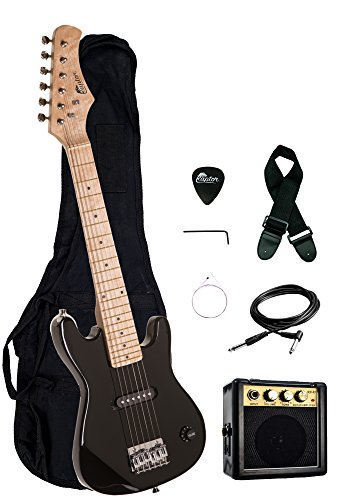 30″ Kids 1/2 Size ULTIMATE Electric Guitar Package with 3W Amp, Gig Bag, Strap, Cable and Exclusive RAPTOR Picks (Black)