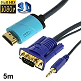 Full HD 1080P Conversion Cable HDMI to VGA and Audio Converter, Support 3D, Length : 5m