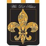 Who Dat Nation Fleur de Lis 42 x 29 Shield Shape Double Applique Tab Top Large House Flag For Sale