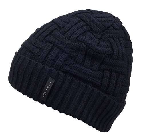 Spikerking Mens Winter Knitting Wool Warm Hat Daily Slouchy Beanie Skull Cap,Navy Blue (Boys Beanie)