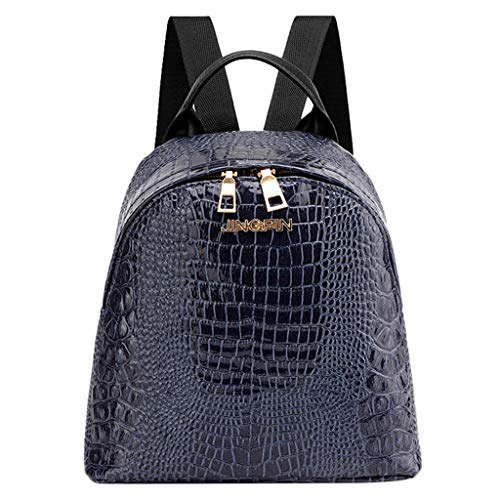 Price comparison product image Birdfly Women Small Crocodile Lines Backpack Fashion Teen Girl School Bags (Dark Blue)