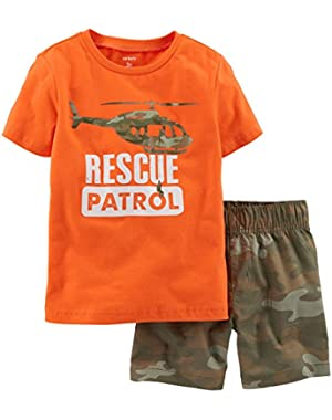 Carters Baby Boys Rescue Patrol Camo Shorts Set 9 Month Orange/green