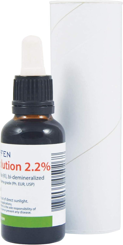 2.2% Lugol's Iodine Solution (1 Fl Oz - 30 ml), Pharmaceutical Grade, Lugols Solution Made with Iodine and Potassium Iodide. Heiltropfen®