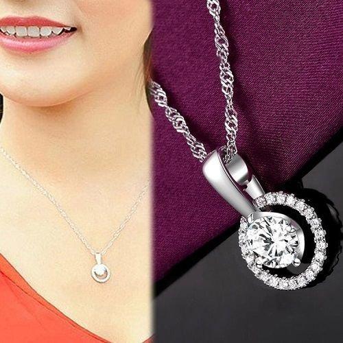 (Gozebra(TM) Plated silver Reincarnation Full Rhinestone Clavicle Pendant Jewelry Lovers Gift)