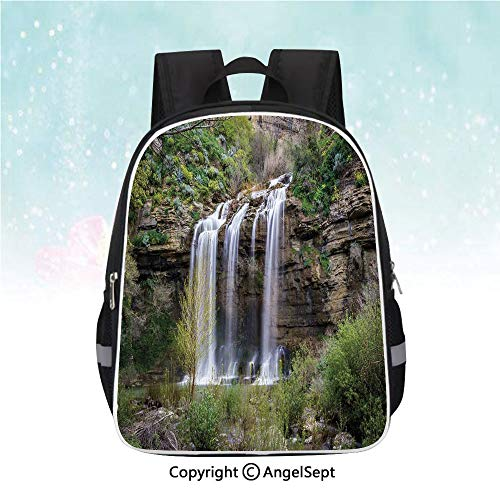 Casual Backpack,Photo of Waterfall Forest Jungle Corleone Sicily Rocks Trees Grass Landscape,13
