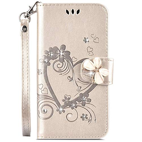 IKASEFU Galaxy J4 2018 Case,Shiny butterfly Rhinestone Emboss Love Floral Pu Leather Diamond Bling Wallet Strap Case with Card Holder Magnetic Flip Cover Compatible with Samsung Galaxy J4 2018,gold