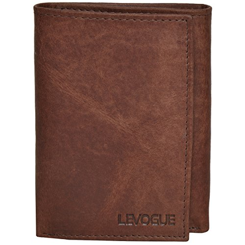 - Genuine Leather Mens RFID Blocking Slim Trifold Wallet with 6 Cards+1 ID Window + 2 Note Compartments. (Brown Crazy Horse) (Brown Crazy Horse)