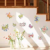 Wall Sticker ZOZOSO Hand-Painted Wall Decals Beautiful Caricatures Butterfly Flower Cabinet Refrigerator Door Wardrobe DIY Decorative Wallpaper