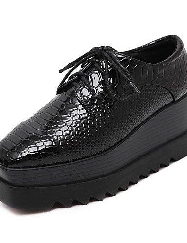 ZQ 2016 Zapatos de mujer - Plataforma - Plataforma / Creepers / Punta Cuadrada - Oxfords - Casual - Cuero Patentado - Negro , black-us8 / eu39 / uk6 / cn39 , black-us8 / eu39 / uk6 / cn39 black-us8 / eu39 / uk6 / cn39