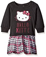 Hello Kitty Little Girls' Toddler Logo Dress, True Black, 2T