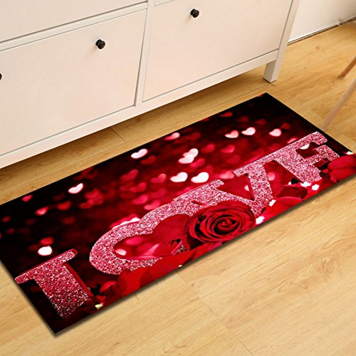 YGUII Abstract Love Colorful Doormat Loving Heart Floor Mat With Non-Slip Backing Bath Mat Rug Excellent Home Decor48(L) x 16