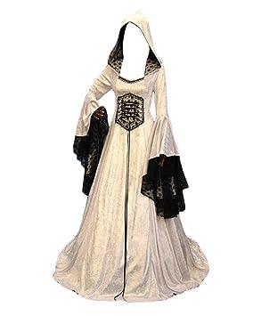 GladiolusA Vestido Largo De Renacimiento Medieval para Mujer Vestito De Traje Victoriano Gotico Blanco S