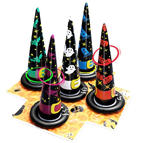 Unomor Inflatable Witch Hat Ring Toss Game Halloween Games for Kids(Air Pump -