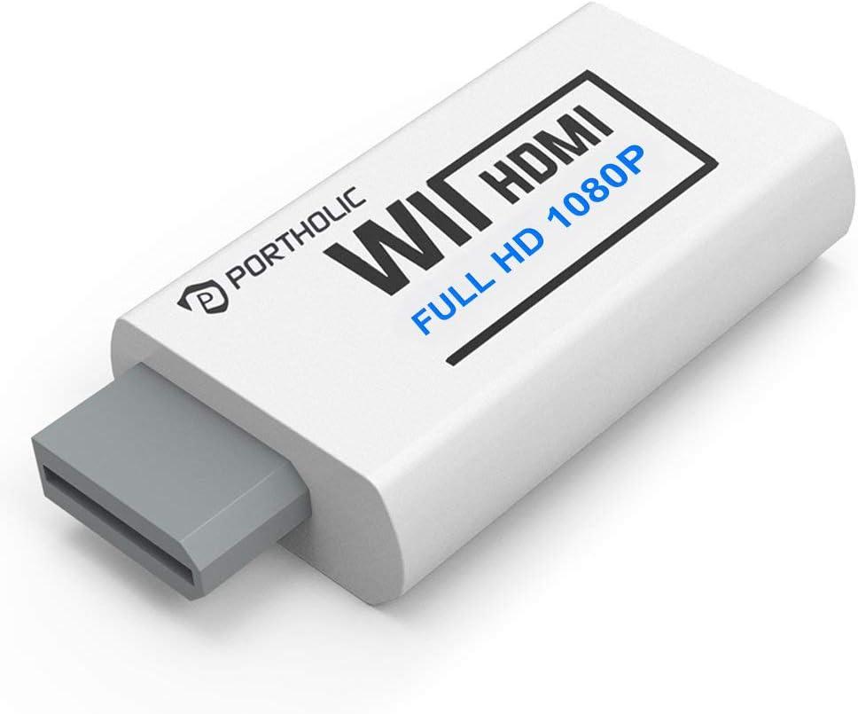 PORTHOLIC Convertidor Wii a HDMI Wii2HDMI 720P/ 1080P, PORTHOLIC Full HD Adaptador con Cable HDMI con Salida de Audio de 3,5 mm y Puerto HDMI para Nintendo wii u&mini wii HDTV Proyector Beamer Mon