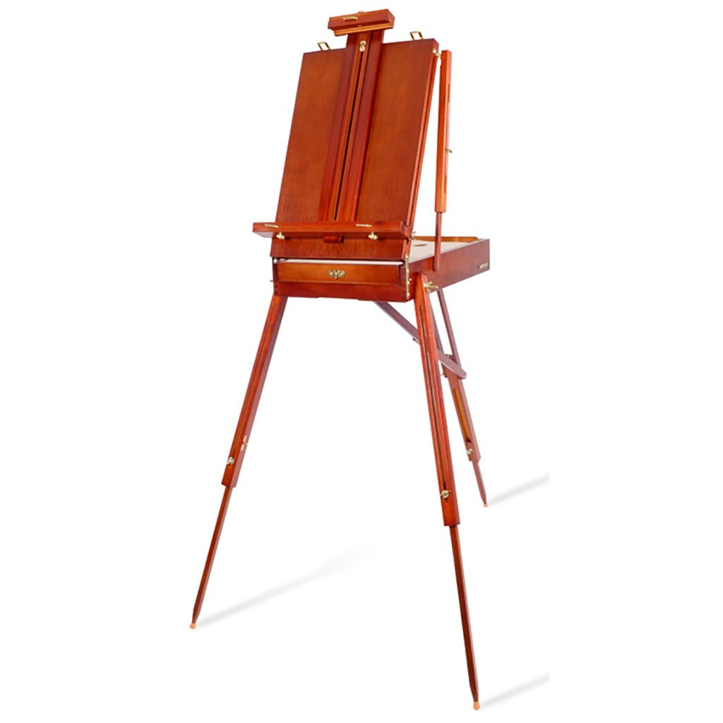 頑丈で丈夫 無垢材折りたたみイーゼル水彩画スケッチ油絵箱ポータブル多機能イーゼル56 * 34センチ(引き出し付き)   B07RQD7WBD