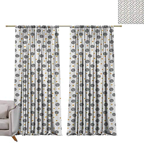 Bullseye Tattoo Designs - berrly Waterproof Window Curtain Abstract,Hand Drawn Circles with Bullseye Pattern with Squares Geometric Composition, Gold Black White W84 x L84 Drapes for Living Room
