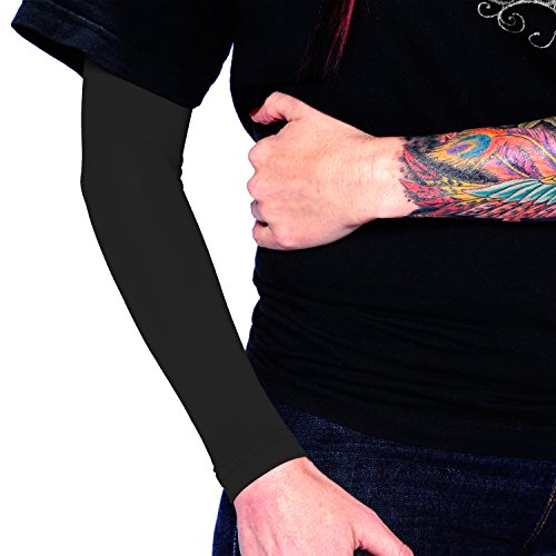 Tat2X Ink Armor Premium Full Arm Tattoo Cover Up Sleeve - No Slip Gripper - U.S. Made - Black - XL2X (Best Places To Hide Tattoos For Guys)