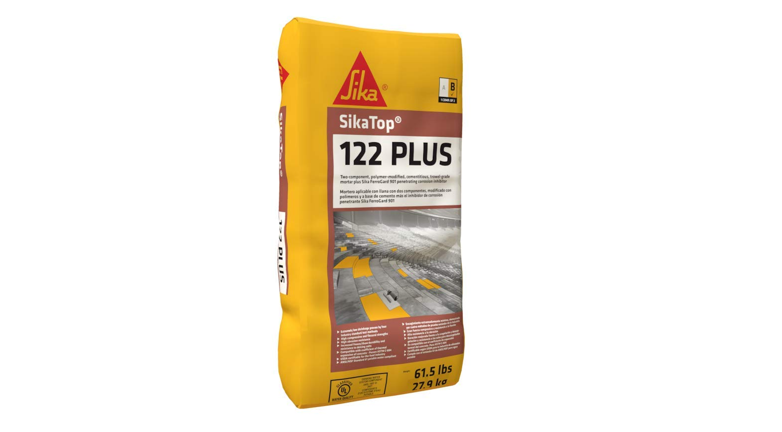 Sika SikaTop 122 Plus, 2-Component Repair Mortar - 1 Gallon Jug + 61.5 Lb Bag