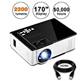 KUAK Mini Projector, 2200 Lumens 170'' Display 50,000 Hour LED Full HD Multimedia Home Theater Video Projector Support 1080P HDMI USB VGA AV for Fire TV Stick PS4 Laptop Smartphone iPad- HT50