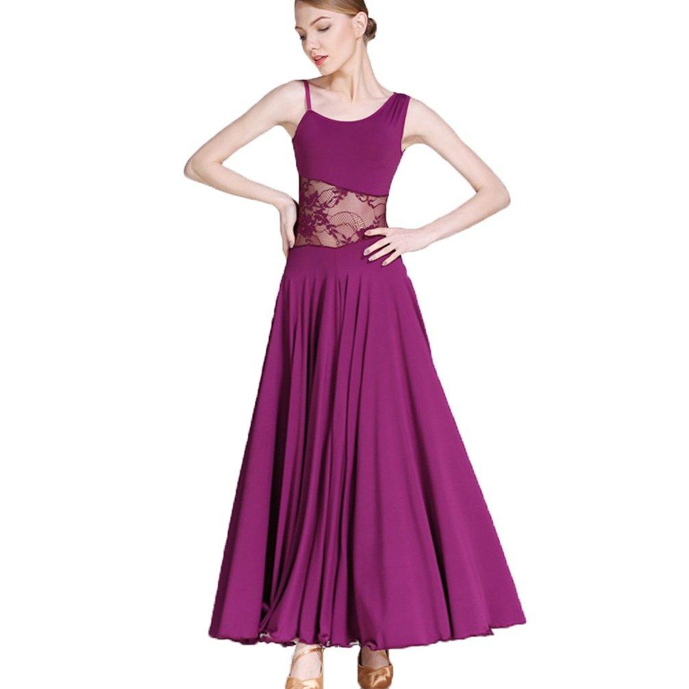 WQWLF Moderne Tanzkleider Übe Kostüm Für Frauen Schrägkragen Schnüren Hohl Walzer Ballsaal Tanzkleider Ärmellos B07L2TGY6M Bekleidung Große Klassifizierung