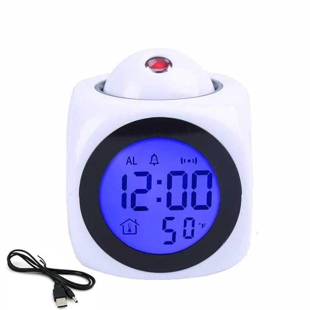 KKmoon Orologio di Proiezione Multifunzione Sveglia Elettronica Rapporto Vocale con Funzione Snooze Termometro con Retroilluminazione a LED Colorato