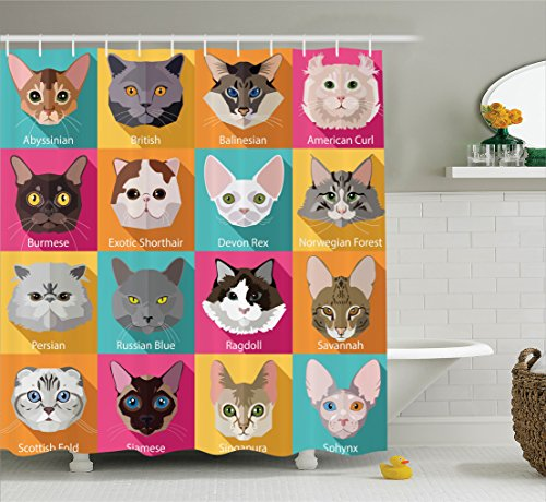 Ambesonne Cat Lover Decor Collection, Popular Breeds of Cats Abyssinian Burmese Sphynx Norwegian Forest, Polyester Fabric Bathroom Shower Curtain Set with Hooks, Turquoise Yellow Pink Brown