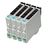 4 Pack - Remanufactured Ink Cartridges for Epson #60 T060 60 T060120 Inkjet Cartridge Compatible With Epson Stylus C68 Stylus C88 Stylus C88Plus Stylus CX3800 Stylus CX3810 Stylus CX4200 Stylus CX4800 Stylus CX5800F Stylus CX7800 (4 Black)