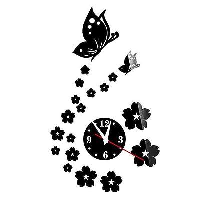 chuangli reloj de pared diseño moderno DIY reloj Digital adhesivo de mariposa Relojes de pared decoración