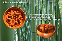 Simply Pets Online A-Maze-In-A-Bowl Eco-friendly Bamboo Fiber Slow Feed Dog Bowl, 11.8 x 11.8 x 2.7-Inches