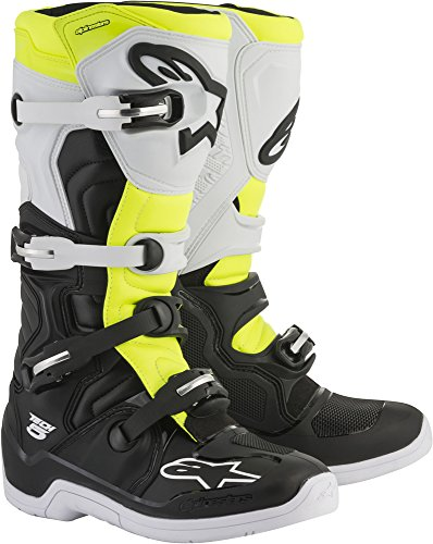 Alpinestars Tech 5 Motocross Off-Road Motorcycle Boots, Black/White/Yellow, Men's Size 12