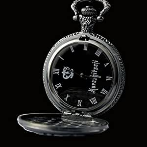 Black Anime Butler Cool Pocket Watch Black Metal Watch with Chain